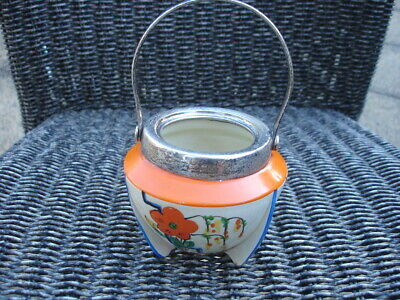 Clarice Cliff Conical Tripod Hand Painted Cauldron With Handle. • 19.99£