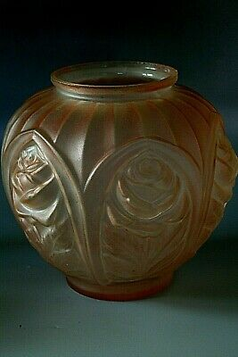 Large Antique Art Deco French  Frosted Glass  Vase In Lalique Style  • 69£