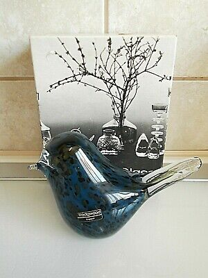 Wedgwood Glass Paperweight Spotted Blue Bird. Boxed. • 18£