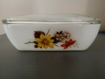 Vintage JAJ Pyrex Butter Cheese Dish Autumn Glory Clear Lid Made In England • 3.20£