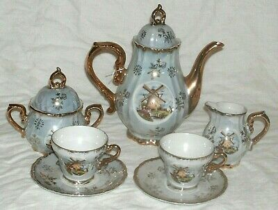 Quality Vintage 7 Piece Tea For Two Set With Windmill Pictures In Good Condition • 19.99£