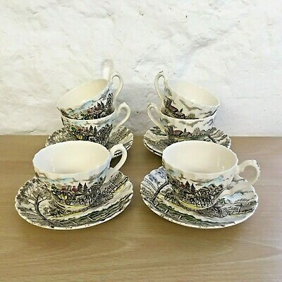 Myott Royal Mail Design Fine Staffordshire Ware 6 Cups And Saucers • 25£