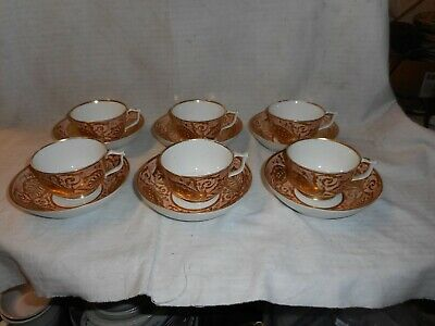Antique Set Of 6 Derby Cups & Saucers C1782 To 1825 • 100£