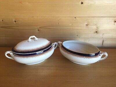Vintage Booths Silicon China Tureen Set X2 Double Handled One Lid Blue And Gold • 10£