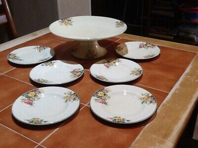 Woods Ivory Ware Pedestal Cake Stand And Side Plates Vintage. • 15£