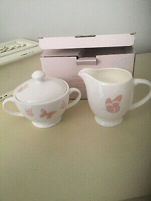 Laura Ashley New Boxed Butterfly Garden Cream And Sugar Set   Rrp £28 • 14.99£