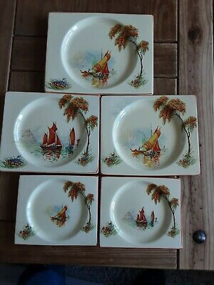 Five Royal Staffordshire Biarritz Plates Attributed To Clarice Cliff  • 60£