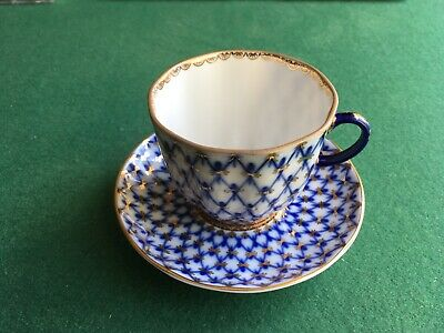 Lomonosov Cup And Saucer. Cobalt Web. Immaculate Condition • 30£