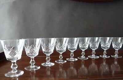 9 Stuart Crystal Glengarry Cut Wine Glasses, DISHWASHER DAMAGE H11,5cm • 10£
