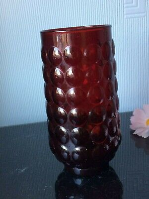 Retro Kitsch Anchor Hocking Flowers Vase Ruby Red Bubble Deco Art Ornament Pot  • 7£