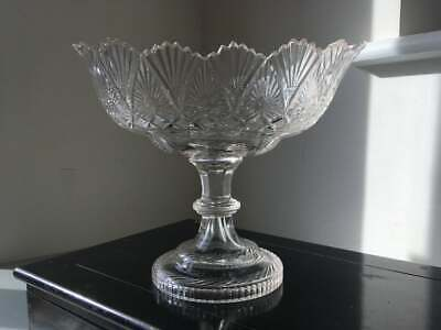 Antique Early 19th Century Irish Cut Glass Pedestal Dish, Fruit Bowl • 90£