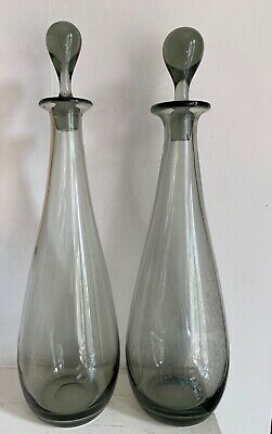 PAIR OF TALL ' TEARDROP ' DECANTERS BY PER LUTKEN HOLMEGAARD 1950s 15.25 Inches  • 128£