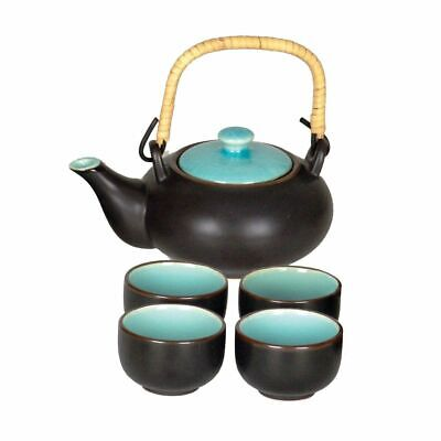 Chinese Tea Set Matt Black With Turquoise Lid And Inside Glaze Of Cups • 20.50£