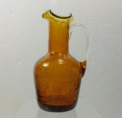 Amber Crackle Glass Small Pitcher Bud Vase 5  Ruffle Lip • 11.11£