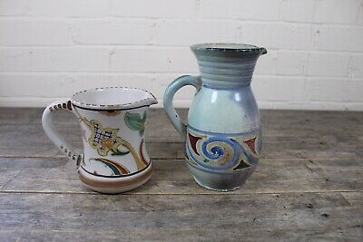 Two Large Vintage Honiton Hand Painted Water Jugs. • 24.99£