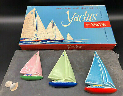 Vintage 1950's Wade Pottery Yachts Seaside Wall Plaques X 3 With Original Box • 128£