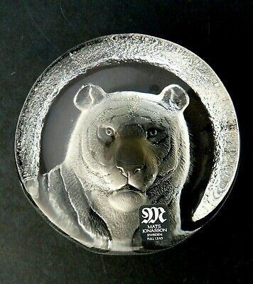 Mats Jonasson Sweden Glass Tiger Paperweight Signed With Label Numbered 28129  • 35£