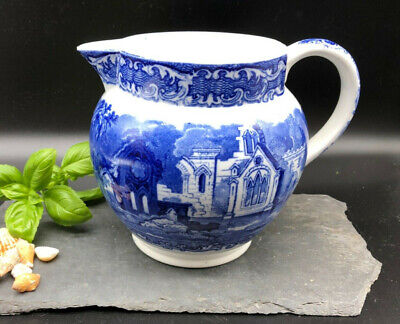 Antique Abbey 1790 George Jones & Sons Blue & White Patterned Large Pottery Jug • 29.95£