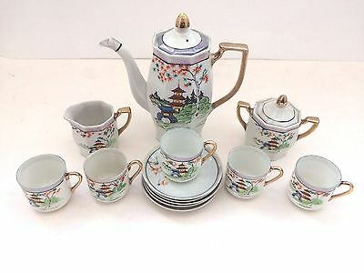 Coffee Set Hand Painted Made In Japan Pagoda Theme China Collectable Display  • 19.99£