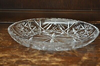 Lovely Clear Cut Glass Round Shallow Bowl Dish - 20cm Diametre • 15£