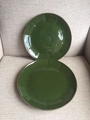 Apilco Green Gold Dinner Plates X 2 (used Condition) • 14.99£
