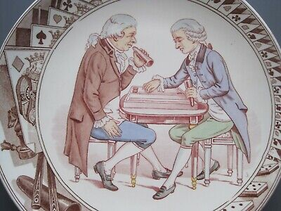 Antique Sarreguemines   French  Series Ware  Plate Le Trictrac - Backgammon • 24.99£