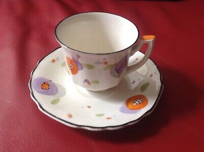 Myott Art Deco Coffee Cup And Saucer Hand Painted Lovely Condition • 15£