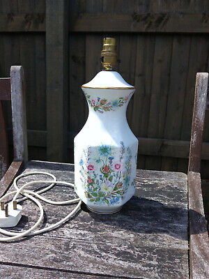 Large Vintage Aynsley Bone China Hexagonal Table Lamp Wild Tudor 13 5/8  Exc.Con • 17.99£