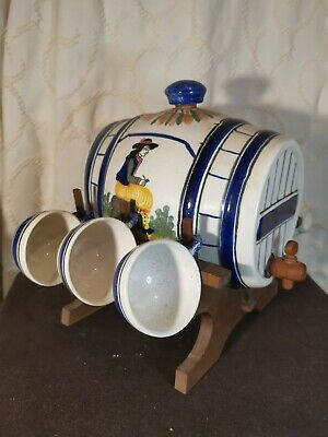 French Faience Henriot Quimper Cider Barrel Dispenser With Six Cups Hand Painted • 129.99£