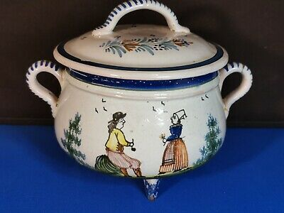 Antique French Faience HB Henriot Quimper Lidded  Sugar Bowl Hand Painted    • 49.99£