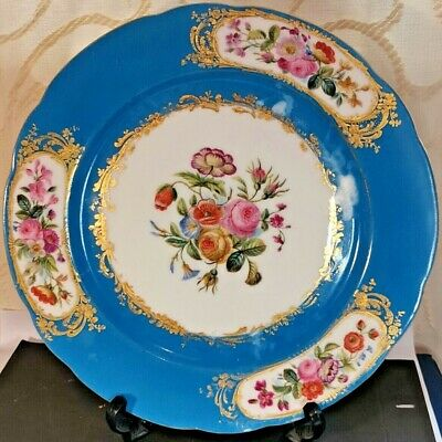 Antique Sevres Celeste Blue Plate Hand Painted Floral With Gold • 119.99£
