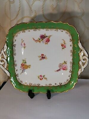 ANTIQUE 19th COALPORT HAND PAINTED DECORATIVE CABINET PLATE / DISH GREEN & GOLD  • 39.99£
