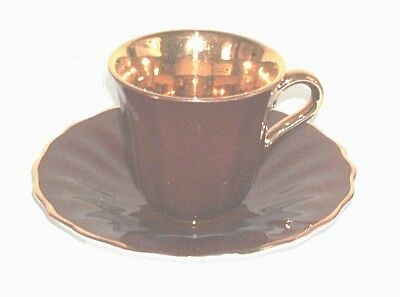 Early Wade Cup And Saucer Maroon And Gilt In Very Good Condition • 5.99£