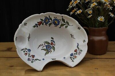 Antique 19 C  French Faience Hand Painted Barbers Shaving Blood Letting Bowl  • 69.95£