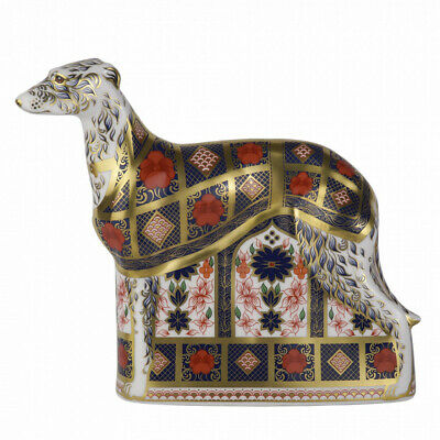 New Royal Crown Derby 1st Quality Imari Solid Gold Band Lurcher Paperweight • 230£