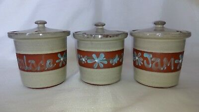 A Trio Of Wellhouse Pottery , Brixham , Condiment / Preserve Jars With Lids • 13.99£