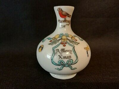 Crested China - Willow Art - Vase - A MERRY XMAS. • 6.99£
