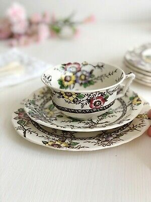 TEA CUP, SAUCER & CAKE PLATE Trio Set Medway, Alfred MEAKIN Vintage Transferware • 12.95£