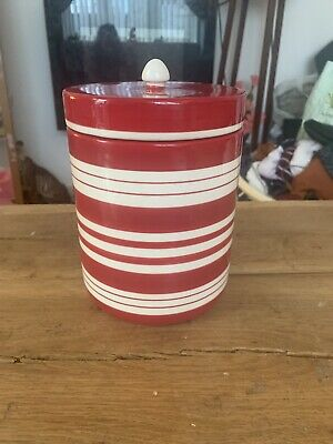 Laura Ashley Home Red Stripe Biscuit Barrell • 5£