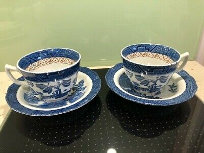 Pair Of Antique Booths Old Willow Ceramic  Cups And Saucers  ; VGC  • 2.99£