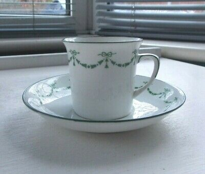 Pretty Vintage E B Foley White & Green Tea/Coffee Cup And Saucer • 4.99£