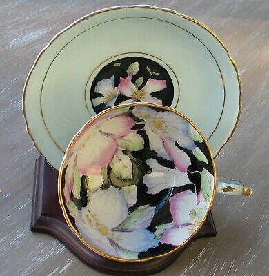 Paragon English Fine Bone China Cabinet Tea Cup And Saucer Flowers Mint Green • 78£