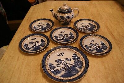 17 Pieces Of Booths  Real Old Willow  A8025 Including Teapot • 30£