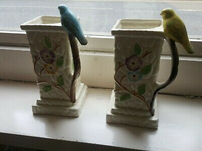 Pair Of Vases With Bird On Handle Floral 1920/30s • 22£