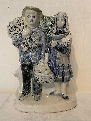 A Blue And White Pottery Group Figure, Possibly Staffordshire Harvest Group. • 6.99£