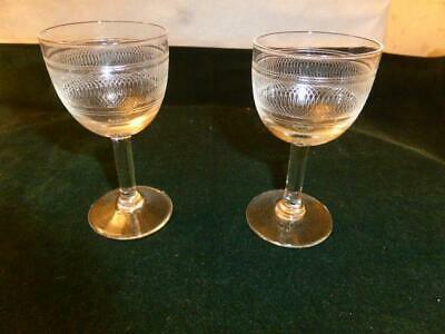 Vintage Sherry Glasses X 2 - Engraved Pattern • 0.99£