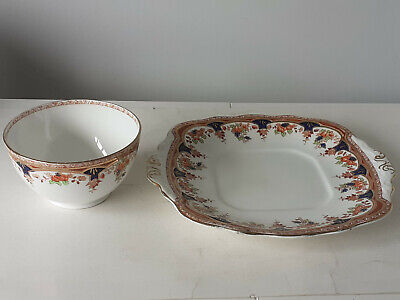 Vintage  Sutherland Bone China Square Cake Plate And Sugar Bowl • 34.99£