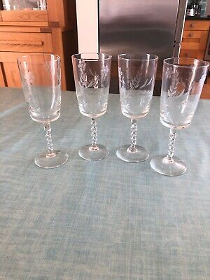 4 Vintage Barley Twist Stem Glasses • 4.99£
