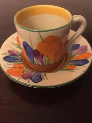 Early Bizarre Clarice Cliff Crocus Coffee Can And Saucer • 79£