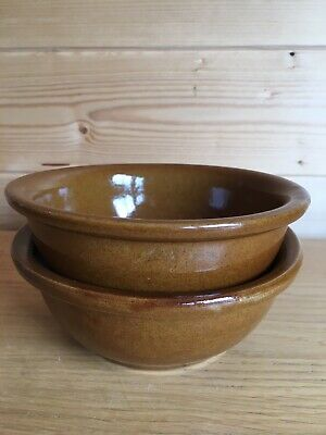 Vintage Pearsons Chesterfield 2 Bowls Stoneware Ceramic Brown Glazed Soup Cereal • 6£